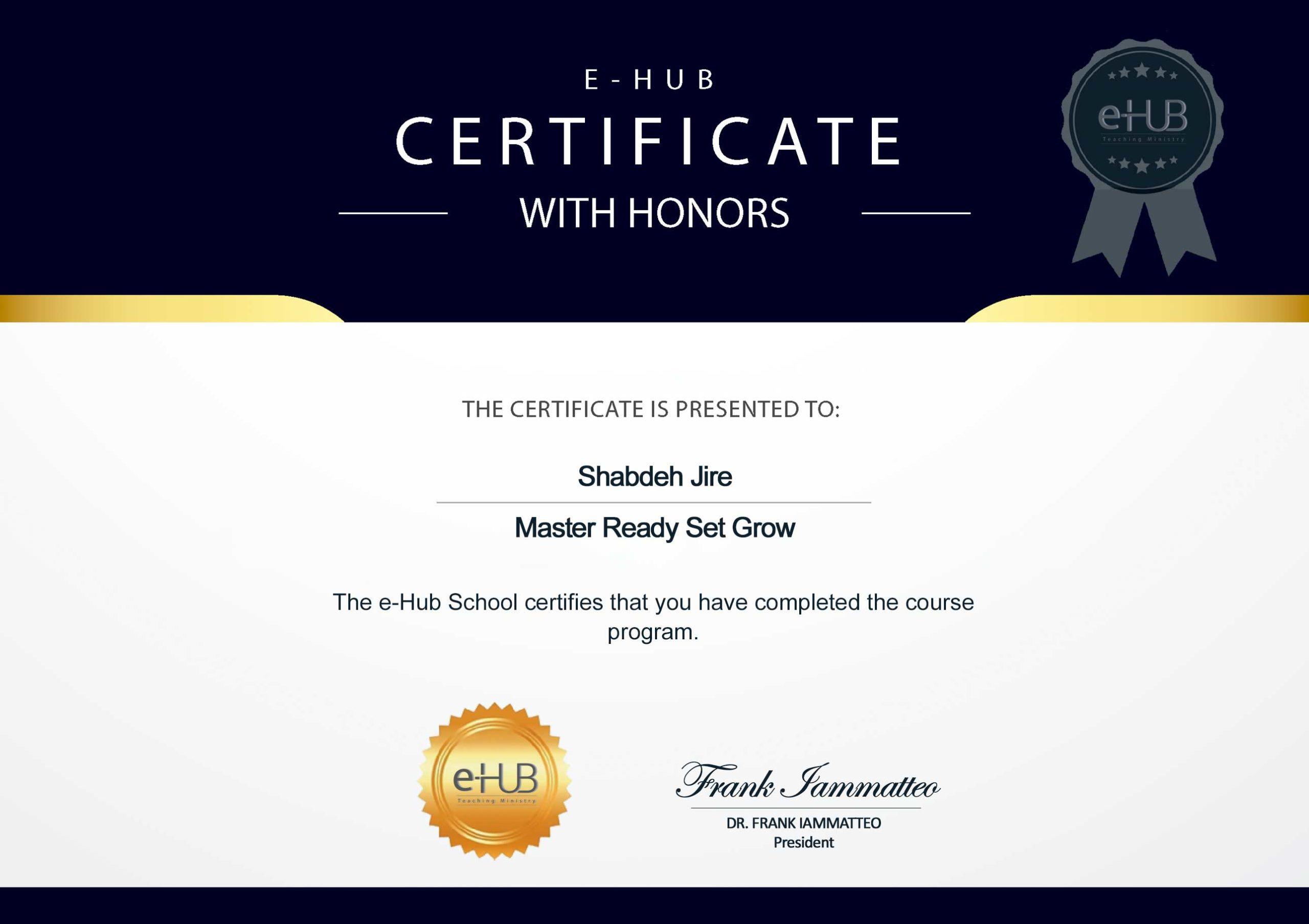Certificate E-Hub (Dr. Frank Iammatteo)